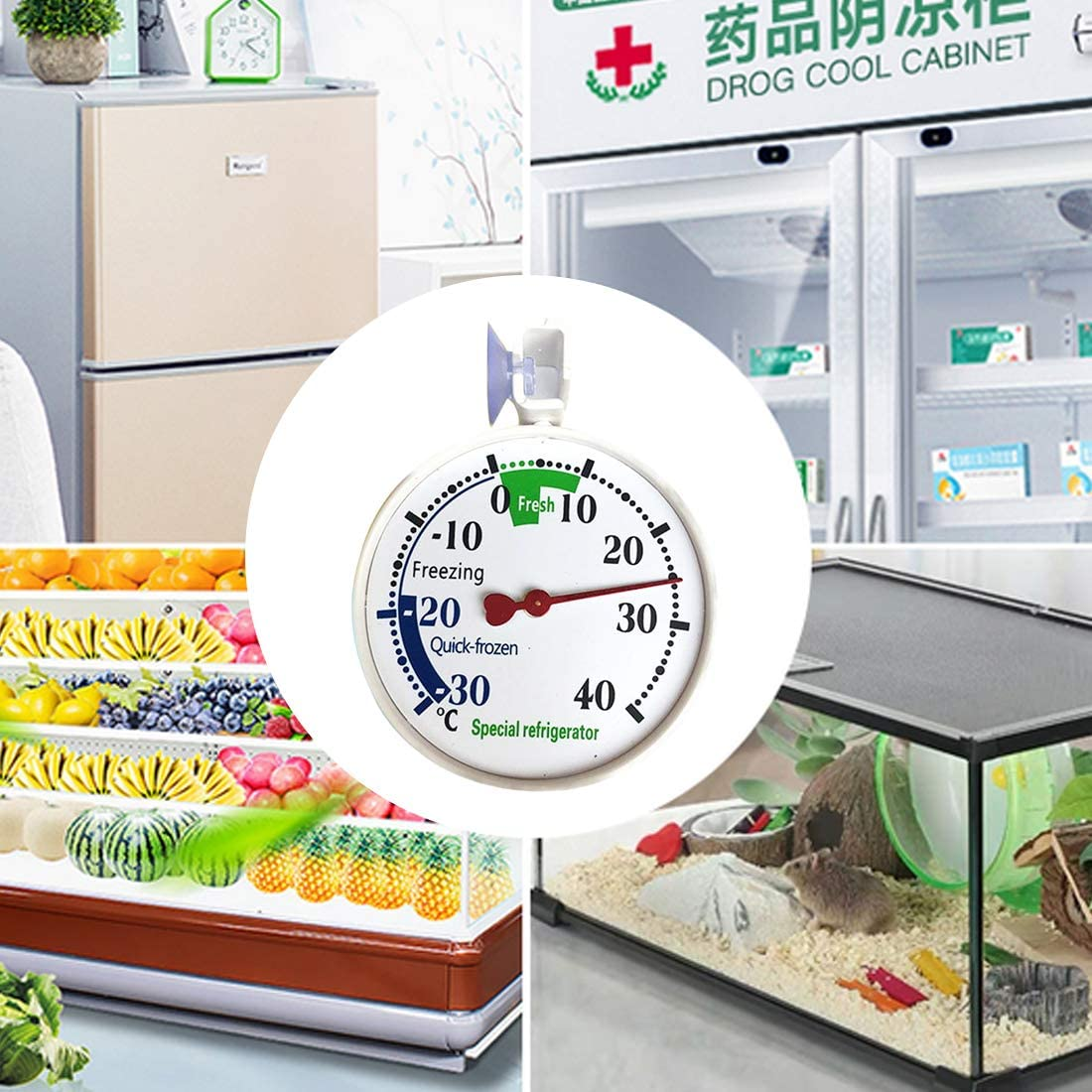 joyliveCY Fridge Thermometer Refrigerator Thermometer with Hanging Hook and Suction Cup Range 30℃~40℃ Accurate measurement