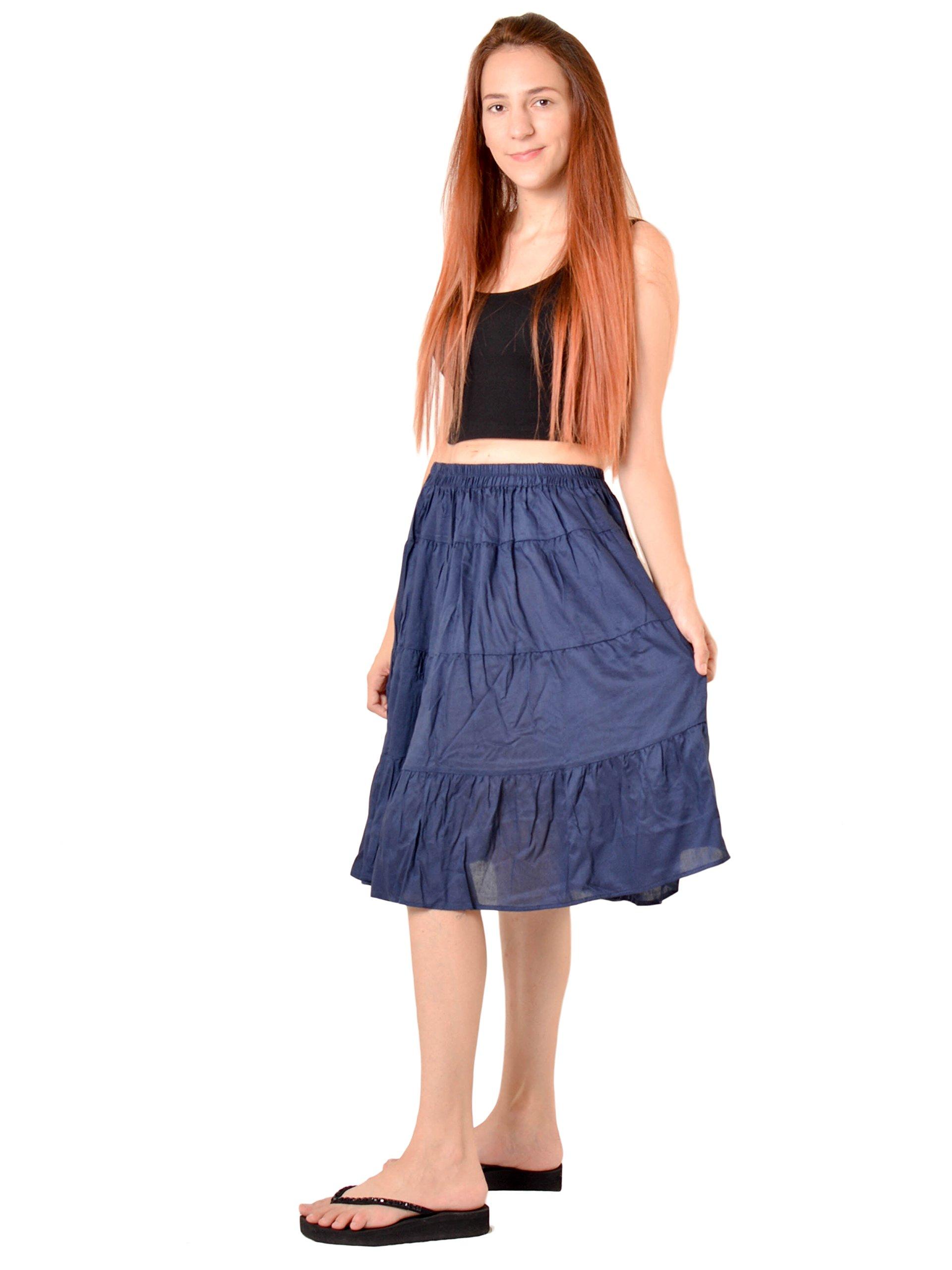 Orient Trail Women's Hippie Bohemian Boho Knee Length Skirt Medium Dark Blue by Orient Trail (Image #3)