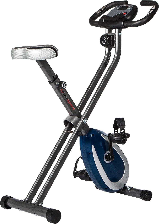 Ultrasport F-Bike 250 Bicicleta estática Plegable, Gris Oscuro/Azul Marino, F-Bike 250 sin Respaldo & APP, Unisex,Gris Oscuro / Azul Marino