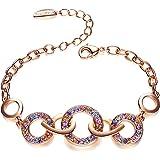 FANCYDELI Rosegold Damen Armband mit österreichischen Kristall Schmuck für Mama Mutter Freundin Frauen