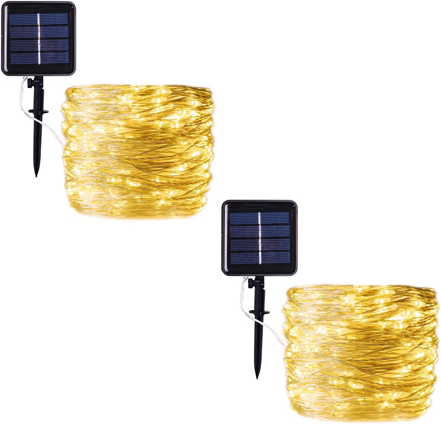 HONGM Solar String Lights Outdoor, 100 LED Waterproof Fairy String Decorative Copper Wire Lights for Wedding, Patio, Bedroom, Party, Christmas (2Pack) (Warm White)