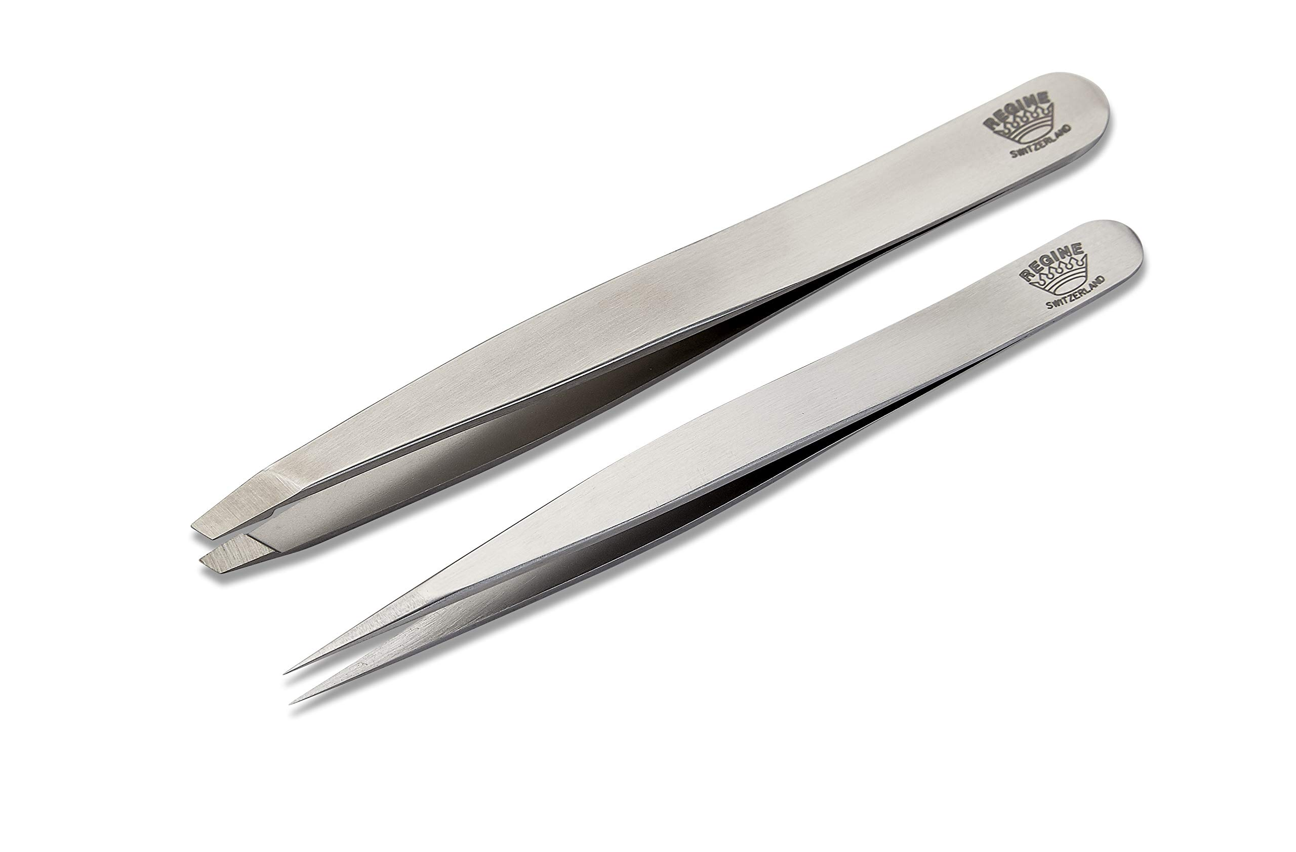 Regine Switzerland | Combo Pack Splinter Tip and Slant Tip Tweezers | 100% Handmade | Surgical Grade Stainless Steel | Professional Precision Eyebrow and Hair Remover | World's Best Tweezers