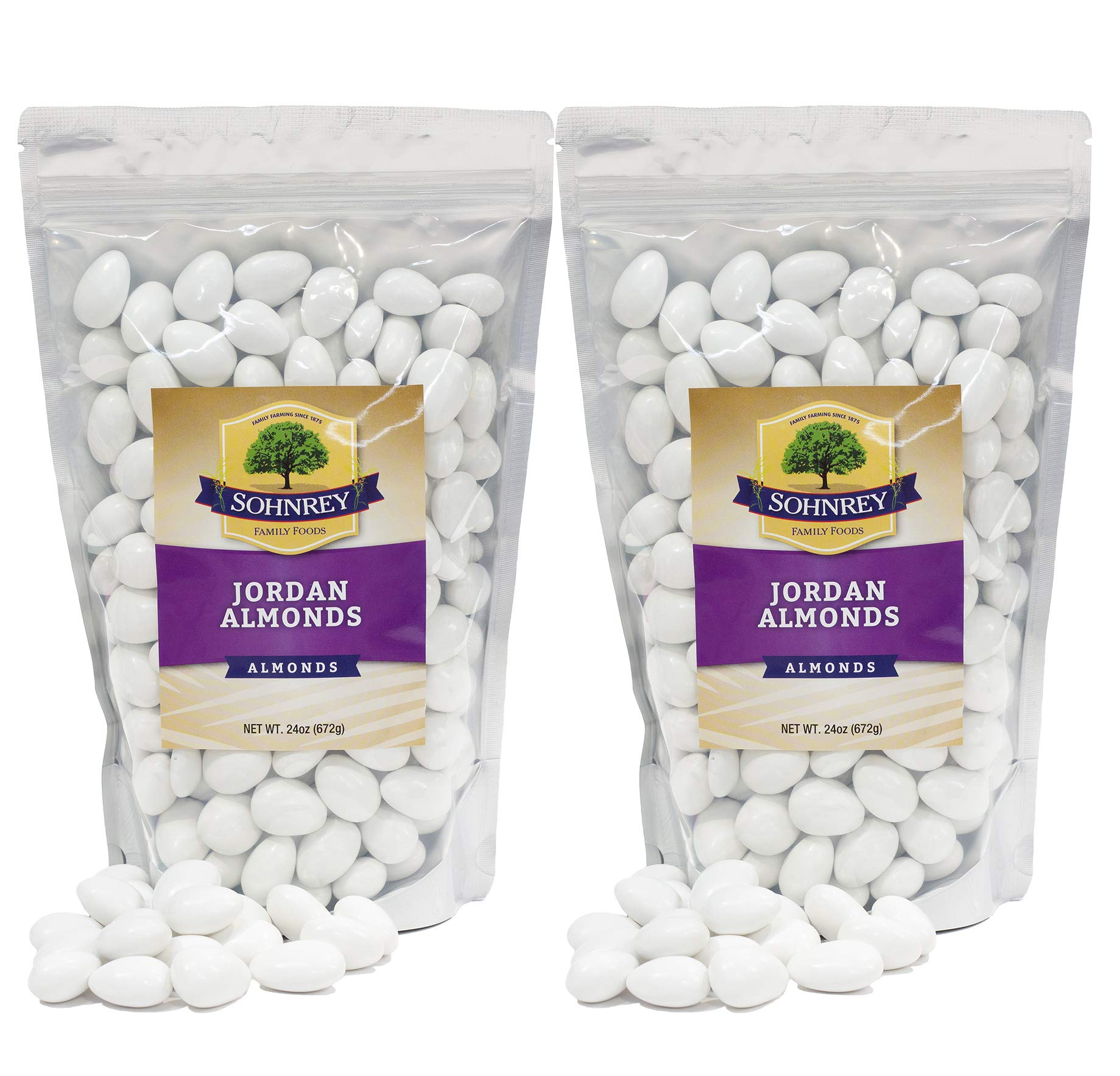 Jordan Almonds Wedding Shower Party Favor Premium White Candied Nuts (2-Pack (3 lbs)) by Sohnrey Family Foods