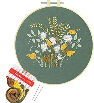 Artilife Embroidery Kit Cross Stitch for Adults Beginners Stamped Embroidery Starters Kits with Pattern for Kids Crafts Embroidery Hoops Floss Thread Needles