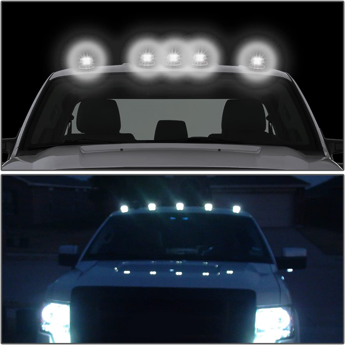 DNA Motoring CBL-F15080-BK-W LED Cab Roof Top Marker Lights X 5 with Wiring with Switch
