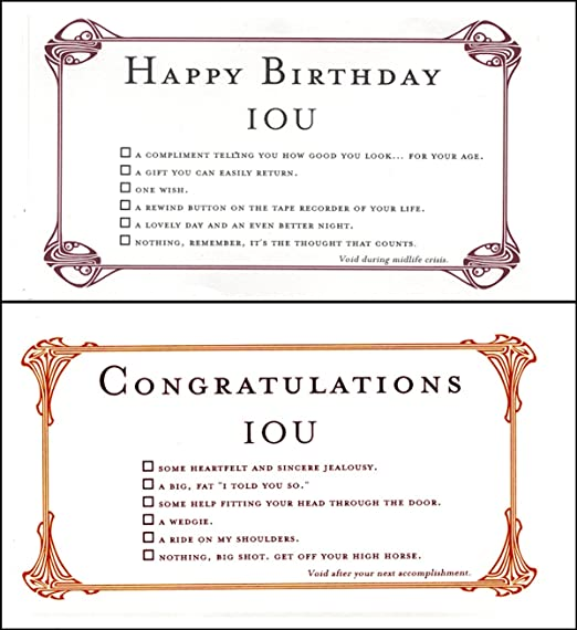 Amazon Quiplip IOU Birthdays 6 Cards Greeting