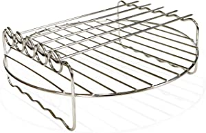 Air fryer Double Layer Round Rack with 5 Skewers Fitting XL Air Fryers(9in,Fit 5.3 QT or Above)