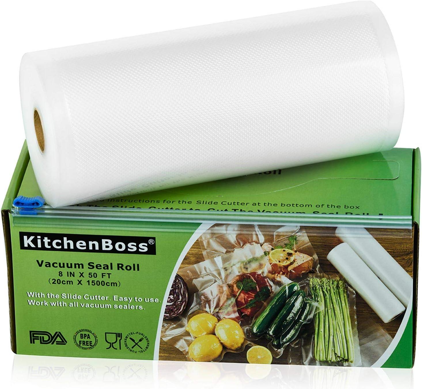 KitchenBoss Bolsas de Vacío 1 Rolls 20x1500cm con Caja de Corte (No Más Tijeras) para Almacenaje de Alimentos,Sous Vide Cocina, BPA Free