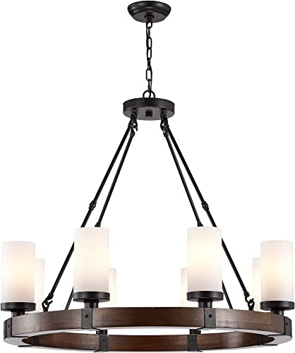 Jojospring Daniela Antique Black Round Wood Chandelier with Frosted Glass Globes