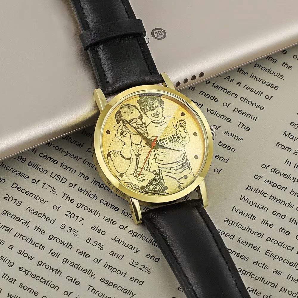 Orologio Da Foto Personalizzato Per Padre Custhom Orologio Da Polso Impermeabile Con Cinturino In Pelle Oro