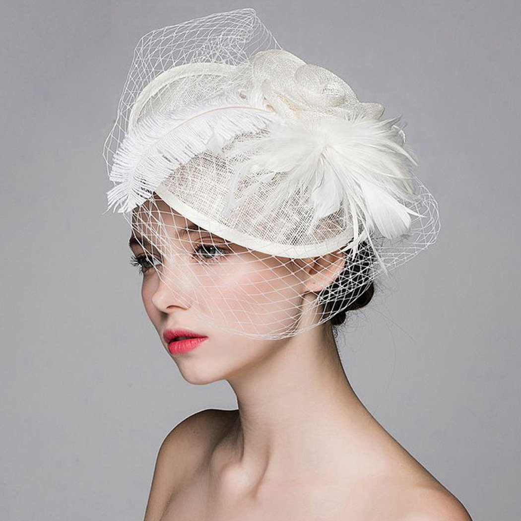 Aukmla Mesh Net Veil Billycock Feather Hat Fascinator Top Hat with Clip
