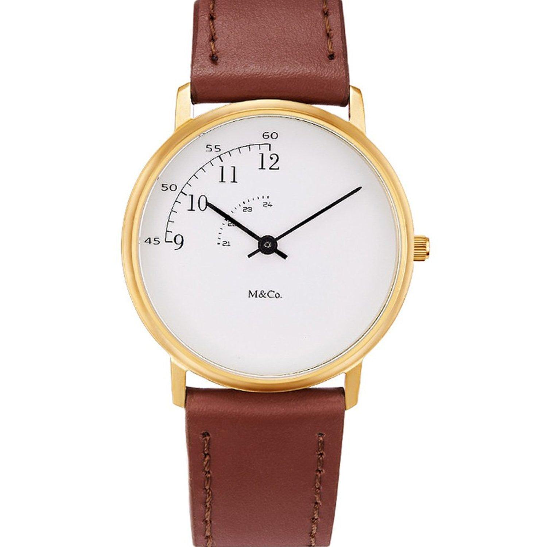 Projekte 7408 Unisex Braun Lederband Band weiß Zifferblatt Uhr