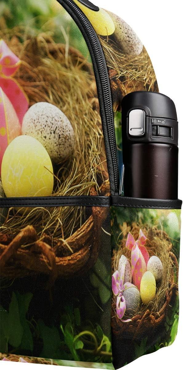 Lyetny Happy Easter Eggs Bookbag School Bags Daily Backpacks Daypack for Students