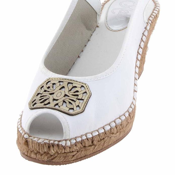 Alpargatas piel detalle bronce Talla: 37 Color: BLANCO: Amazon.es: Zapatos y complementos