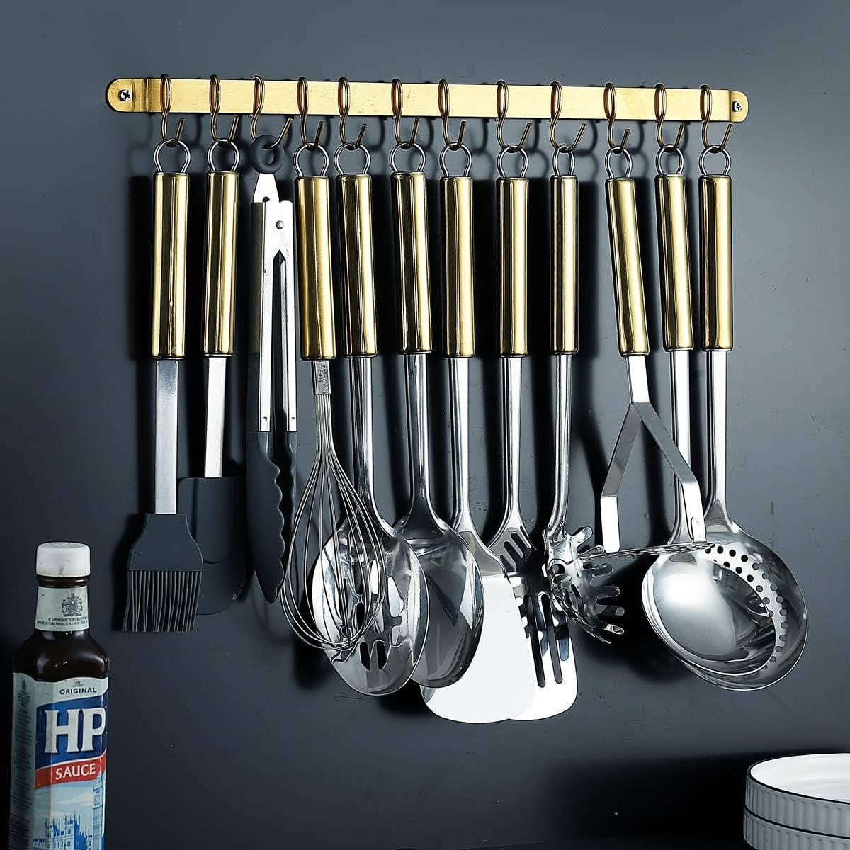 Golden Kitchen Utensil Rack Kyraton Titanium Plated Stainless Steel Utensil Rack With 12 Removable Hooks Utensil