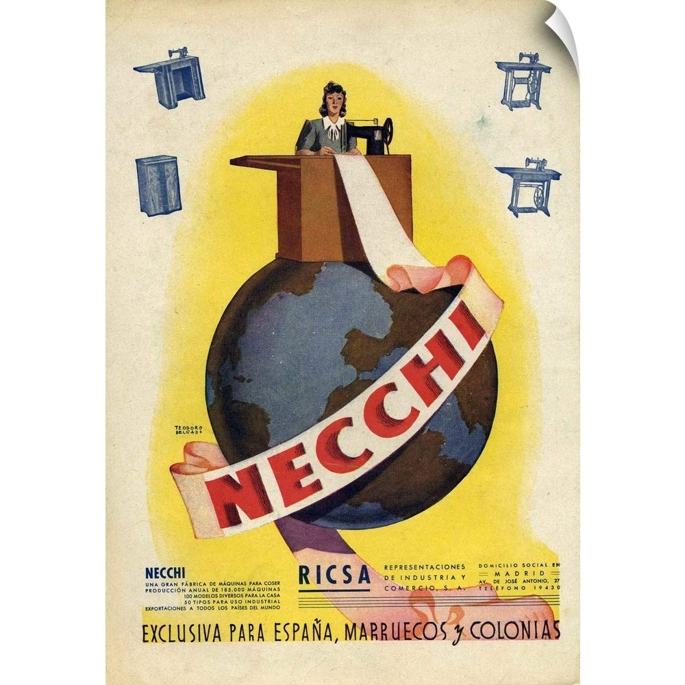 Amazon.com: CANVAS ON DEMAND Wall Peel Wall Art Print Entitled Necchi Sewing Machine Advertisement 24