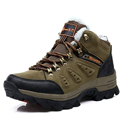 Men's Outdoor Hiking Shoes Comfortable Lightweight Trekking Shoes 39-44 ( Color : Army green-Plus plush  Size : 39 )