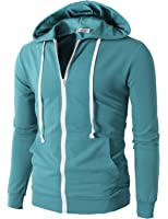 H2H Mens Casual Fashion Active Jersey Slim Fit Hoodie Zip-Up
