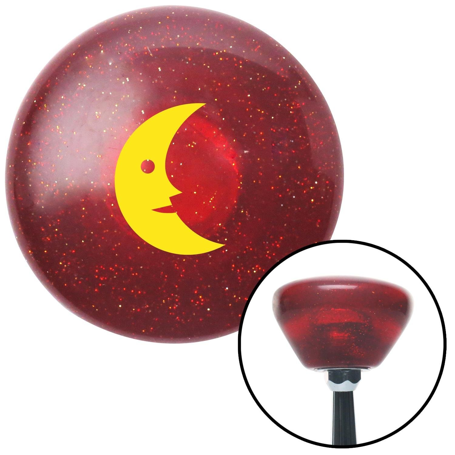American Shifter 196653 Red Retro Metal Flake Shift Knob with M16 x 1.5 Insert Yellow Crescent Moon Smiling
