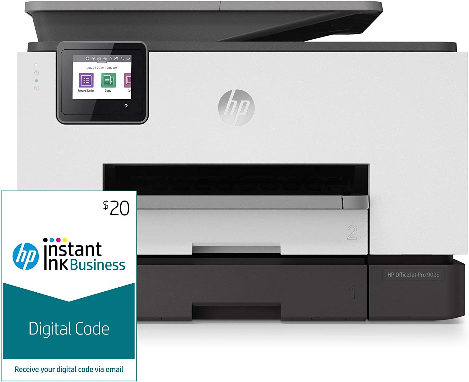 HP OfficeJet Pro 9025 All-in-One Wireless Printer, with Smart Tasks, Advanced Scan Solutions and Instant Ink Business $20 Prepaid Code