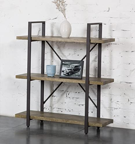 Amazon OK Furniture 3 Shelf Rustic Bookshelf And Bookcase