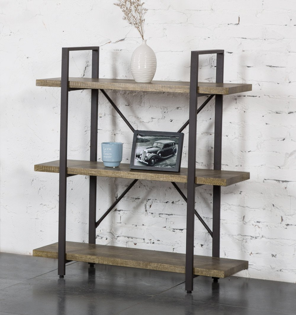 O&K Furniture 3 Shelf Rustic Bookshelf and Bookcase, Vintage Green