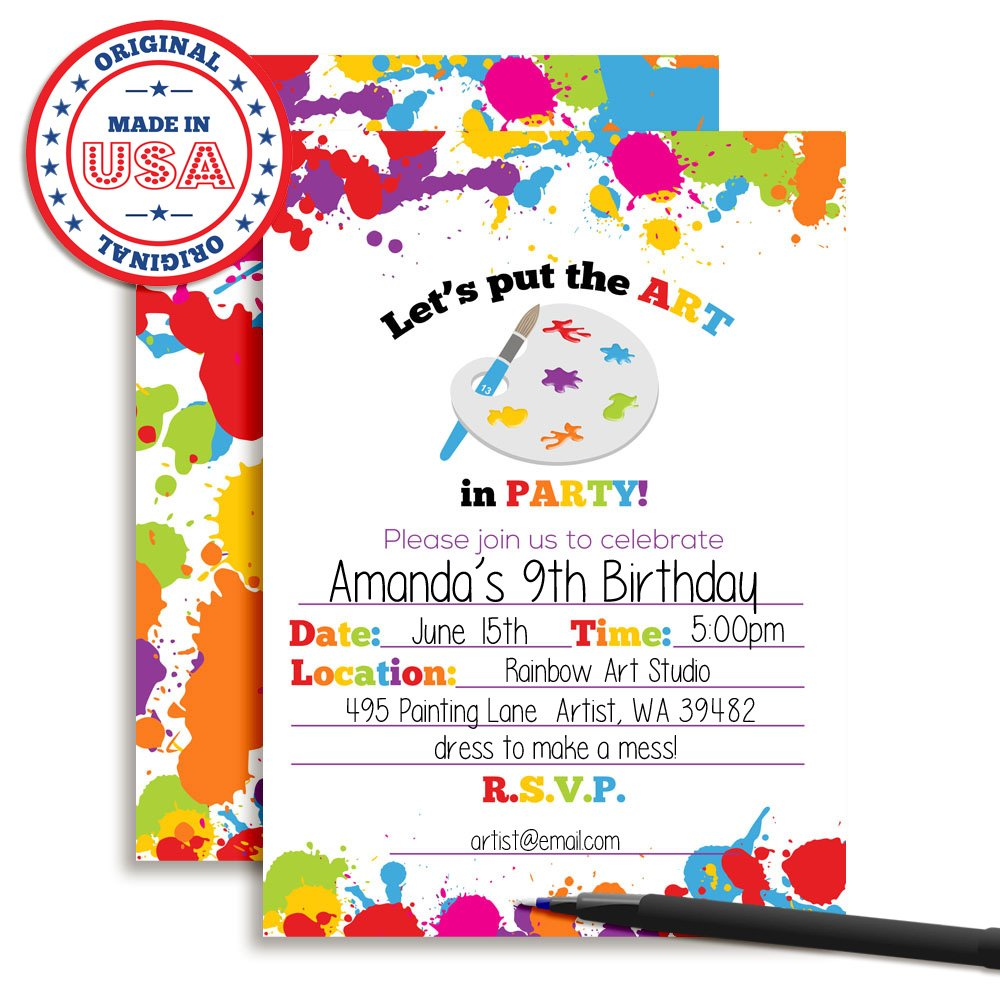 Amazon Com Art Party Paint Splatter Birthday Party Invitations 20