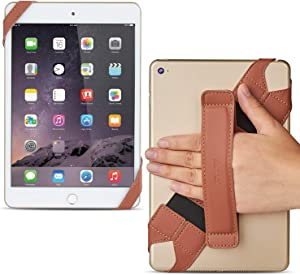 "Universal Tablet Hand Strap Holder, Joylink 360 Degrees Swivel Leather Handle Grip with Elastic Belt, Secure & Portable for 7.9"" Tablets (Samsung Asus Acer Google Lenovo Kindle iPad Mini), Brown"