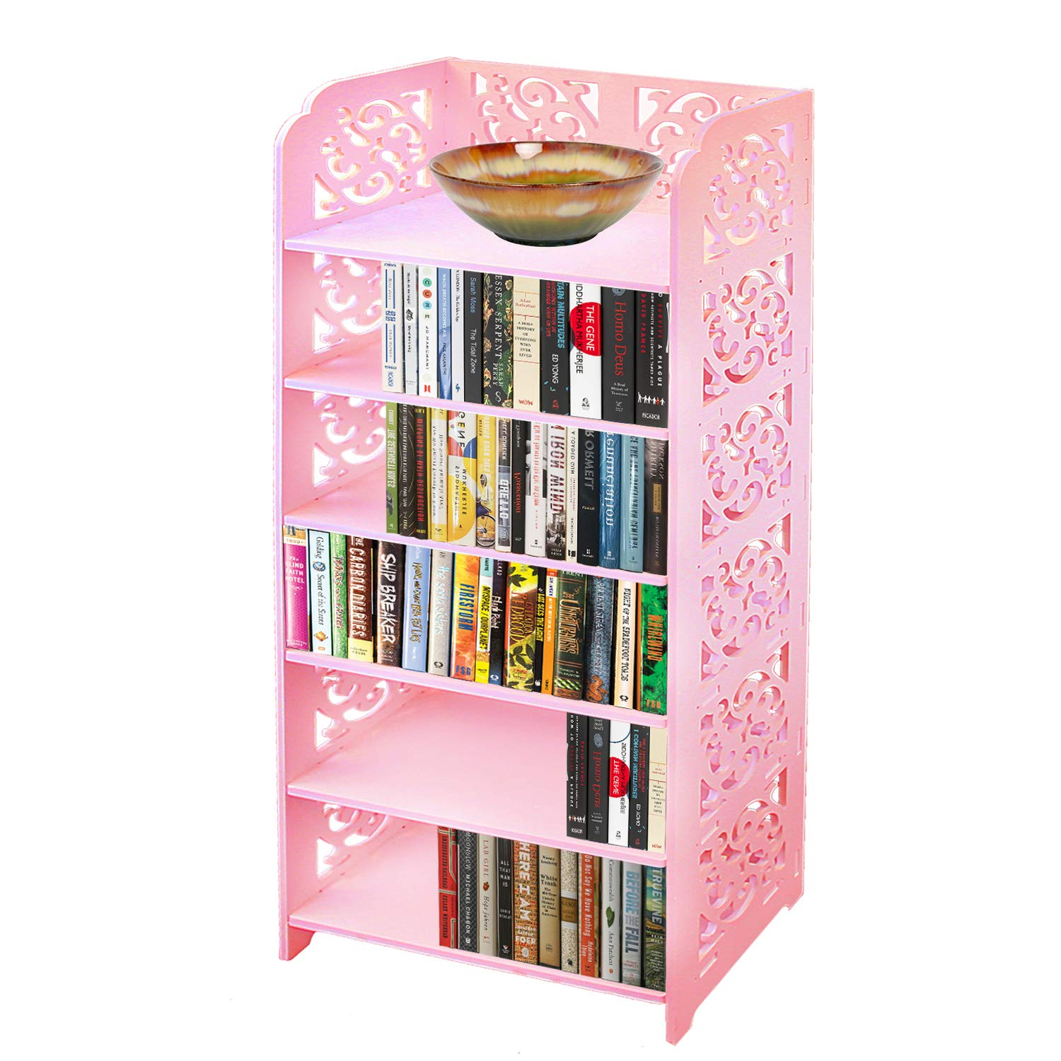 DL furniture WPC Tall 6 Tier Multipurpose Shoe Rack & Book Shelf L16.5 x W9.5 x H38 Environmental Friendly Material | Pink by DL furniture (Image #1)