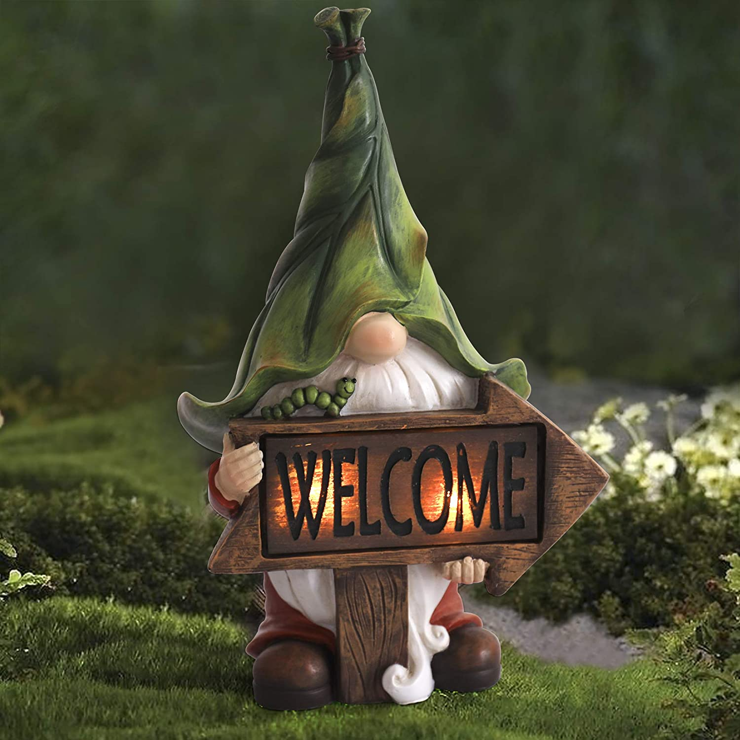 LA JOLIE MUSE Garden Gnome Statue - Resin Gnome Figurine Holding Welcome Sign with Solar LED Lights, Outdoor Fall Winter Christmas Decorations for Patio Yard Lawn Porch, Ornament Gift