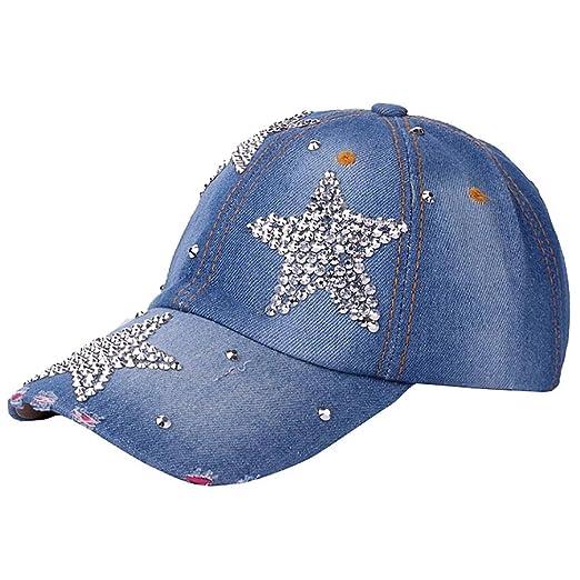 Vertily Hat Casual Denim Rhinestone Pentagram Unisex Adjustable Baseball  Dad Cap (Blue) 78ebc7eada8