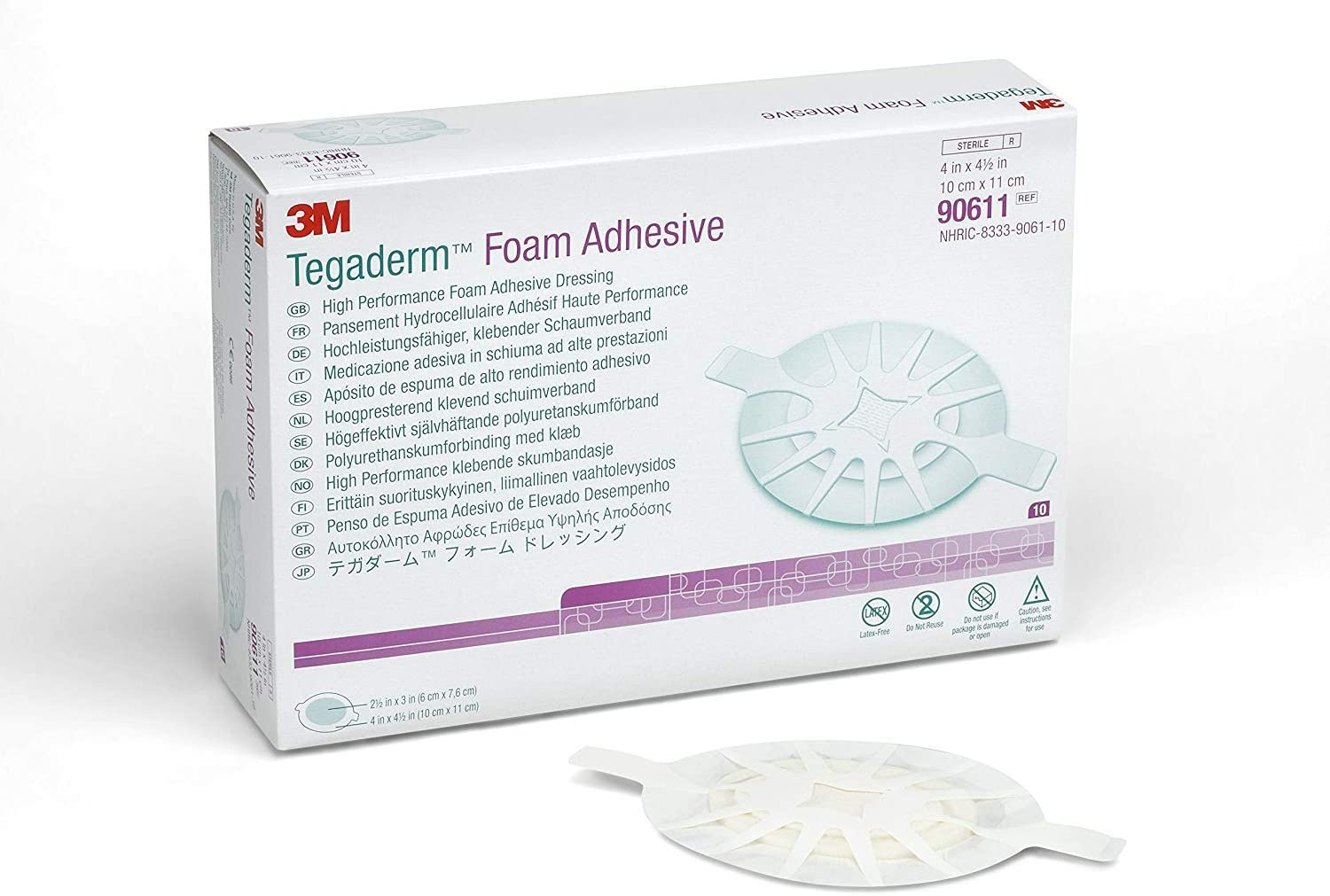 """Tegaderm High Performance Adhesive Foam Dressing 4-1/2"""" x 4"""" Small Oval (Box of 10 Each)"""