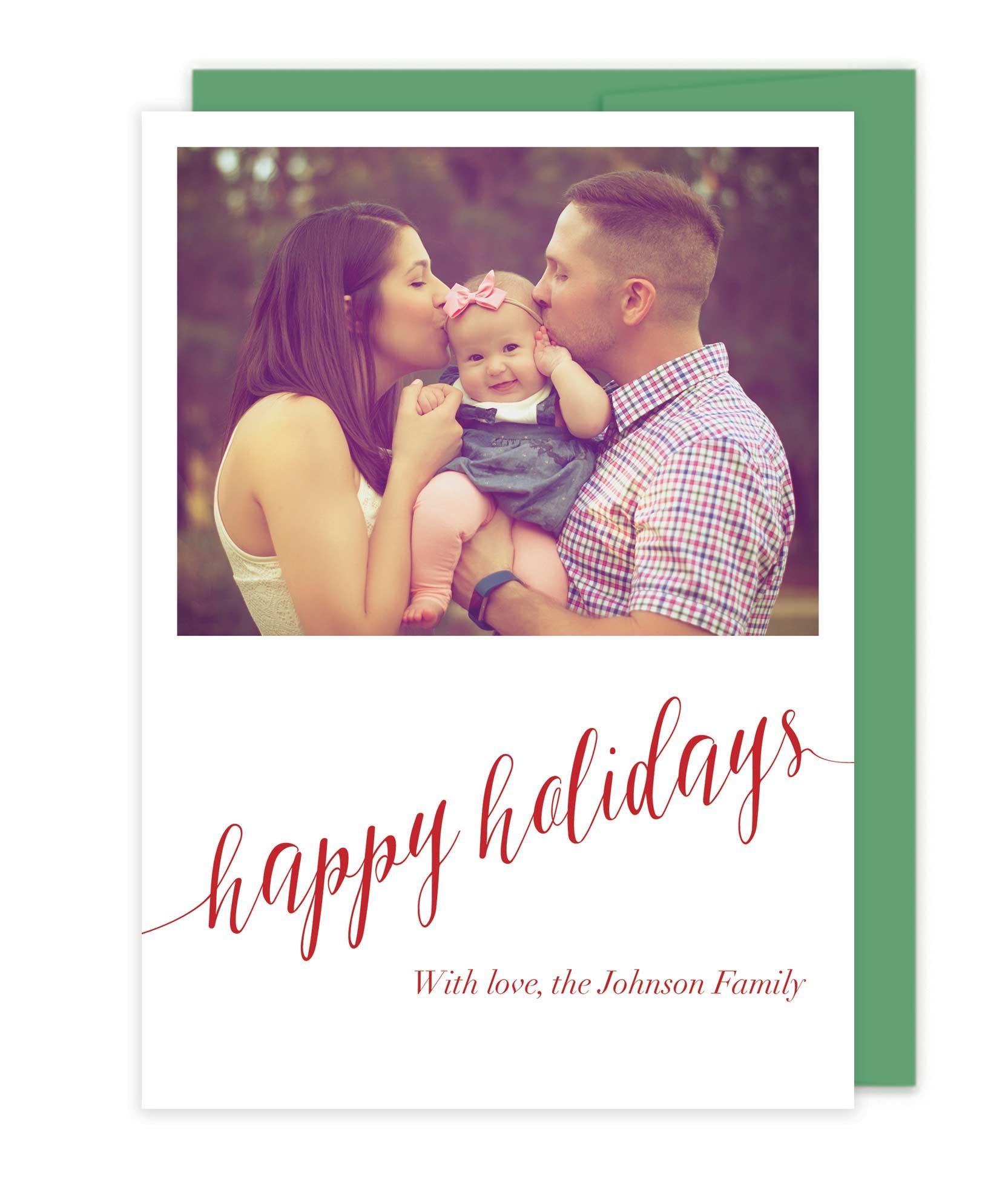 Photo Letterpress Christmas Cards - Happy Holidays