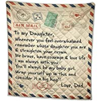 Yuanhong Fleece Blanket- to My Daughter Letter Printed Quilts, Dad for Daughter's Air Mail - Encourage & Be Brave Quotes Flannel Blanket for Baby Girls