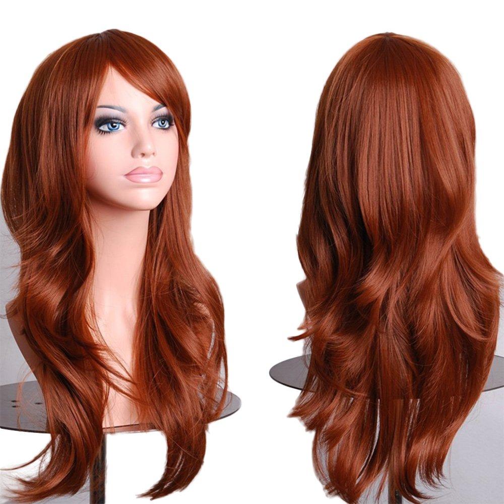 netgo Brown Auburn Cosplay Wigs for Women Long Wavy Halloween Costume Heat Resistant Party Wigs 26'' by Netgo