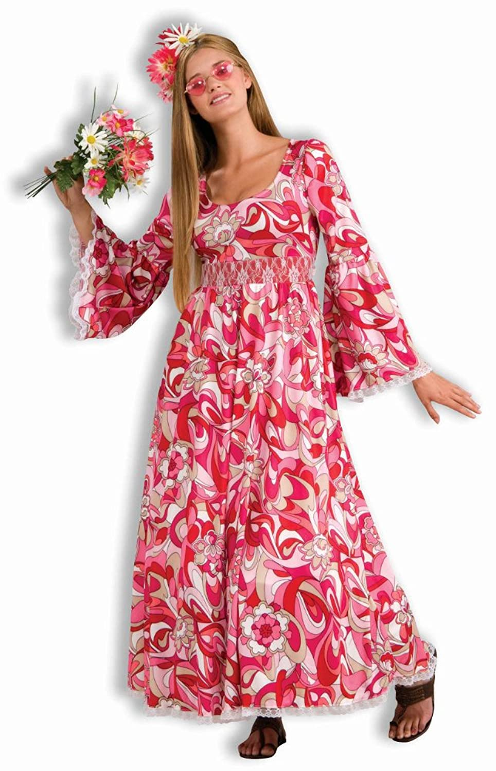 Amazon.com Womens 70s Outfit Long Hippie Dress Halloween Costume Toys u0026 Games  sc 1 st  Amazon.com & Amazon.com: Womens 70s Outfit Long Hippie Dress Halloween Costume ...