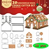 (Set of 10)Christmas House Cookie Cutter Set,Bake Your Own Small Gingerbread House Kit,Chocolate House, Haunted House,Gift Box Packaging