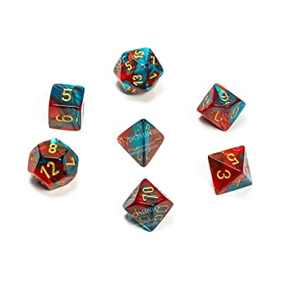 Chessex CHX26462 Dice-Gemini Red-Teal/Gold Set: Toys & Games