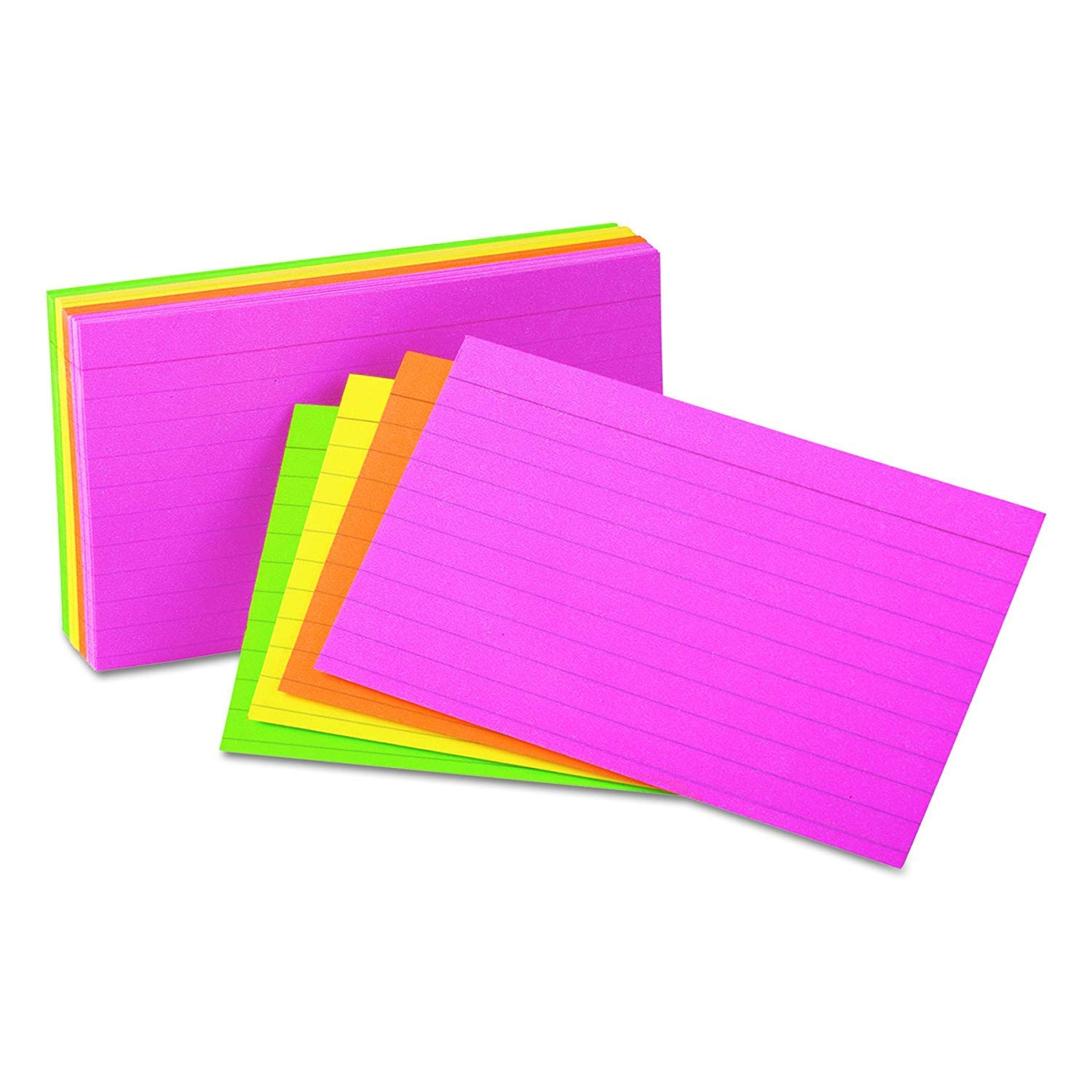 Universal 47257 Ruled Neon Glow Index Cards, 5 x 8, Assorted (Pack of 100), 32 PACK