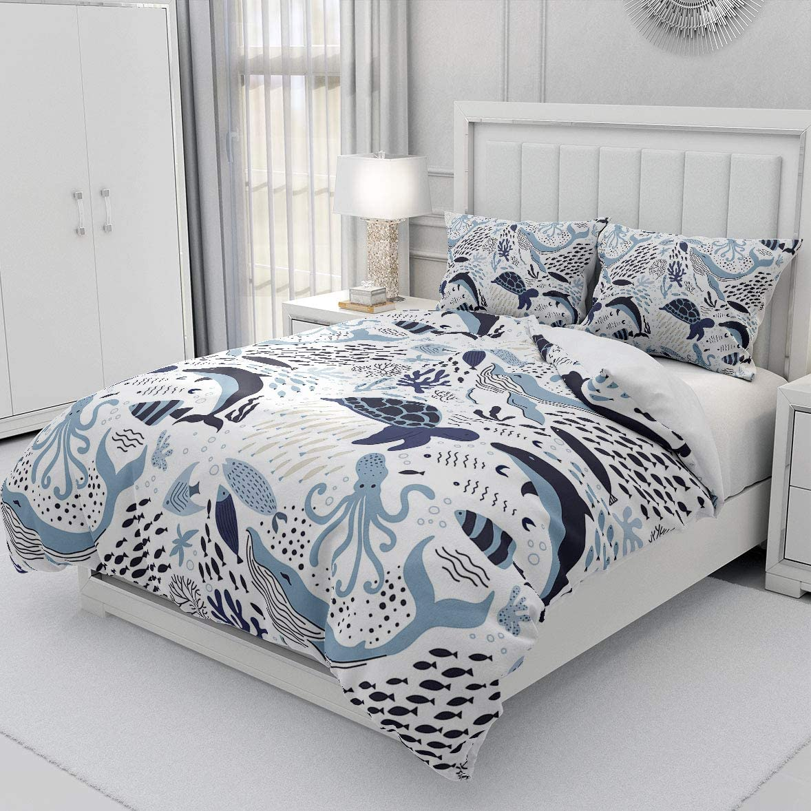 Erosebridal Turtle Bedding Sets Full White Blue Whale Decor Teen Duvet Cover Set,Octopus Pattern Ocean Theme Comforter Cover Set Underwater Children Comforter Cover for Adult Kids Girls Boys