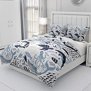 Erosebridal Turtle Bedding Sets Twin White Blue Whale Decor Teen Duvet Cover Set,Octopus Pattern Ocean Theme Comforter Cover Set Underwater Children Comforter Cover for Adult Kids Girls Boys