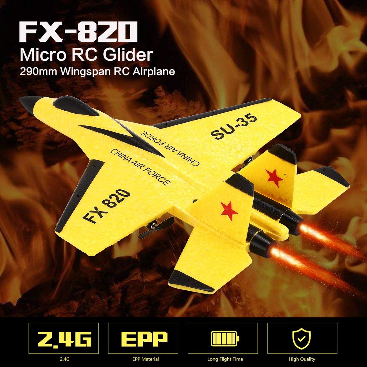 MXECO FX FX-820 2.4G 2CH Remote Control SU-35 Glider 290mm Wingspan EPP Micro Indoor RC Fixed Wing Airplane Aircraft UAV RTF: Amazon.es: Juguetes y juegos