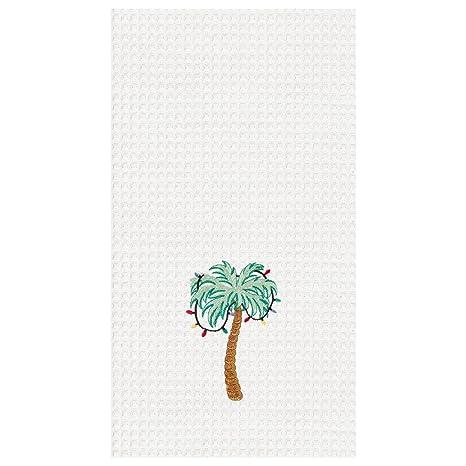 Tropical Palm Tree with Chritmas Lights - Holiday Dishtowel - Waffle Weave