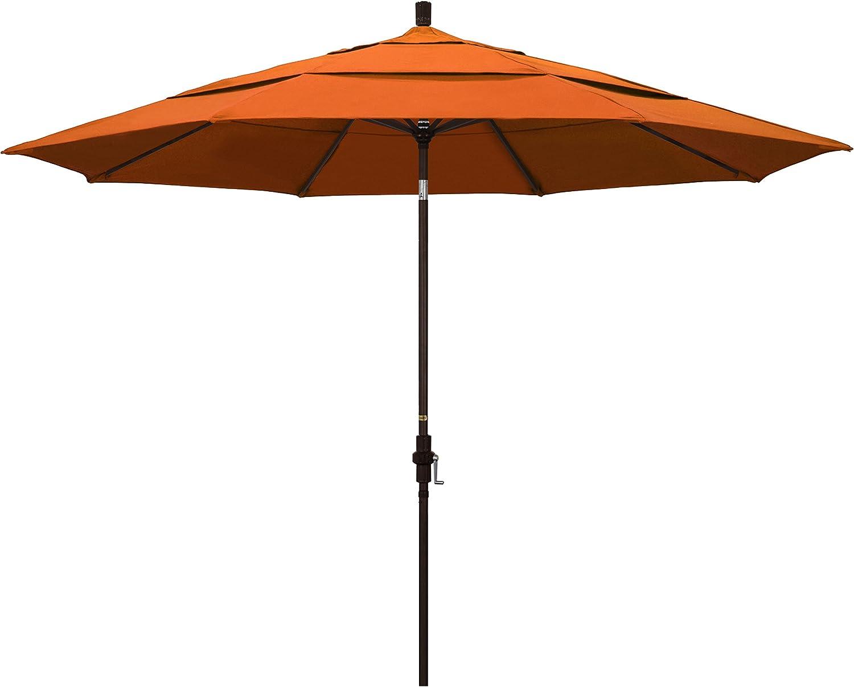 Amazon Com California Umbrella 11 Round Aluminum Market Umbrella Crank Lift Collar Tilt Bronze Pole Pacifica Tuscan Garden Outdoor