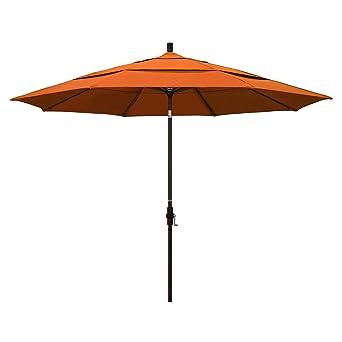 California Umbrella 11u0027 Round Aluminum Market Umbrella, Crank Lift, Collar  Tilt, Bronze