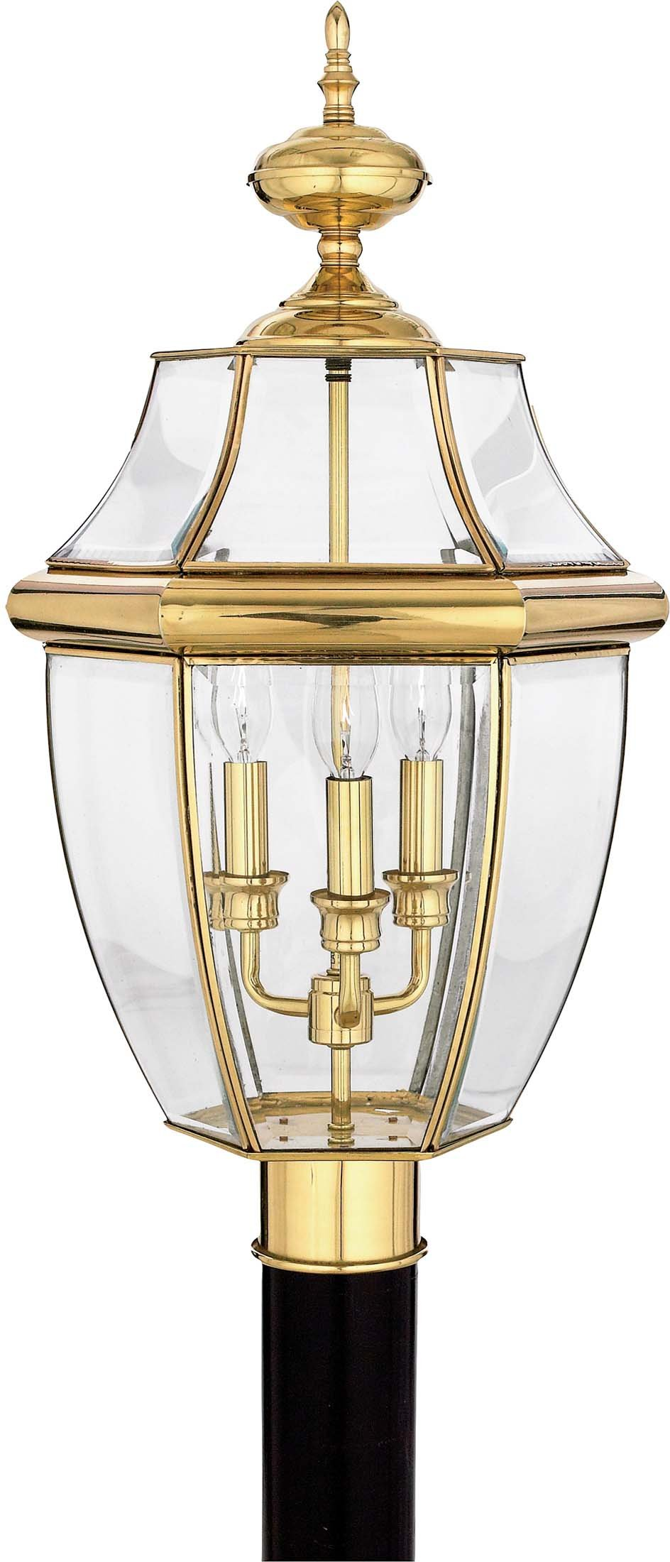 Quoizel NY9043B Newbury 3-Light Outdoor Post Lantern, Polished Brass by Quoizel
