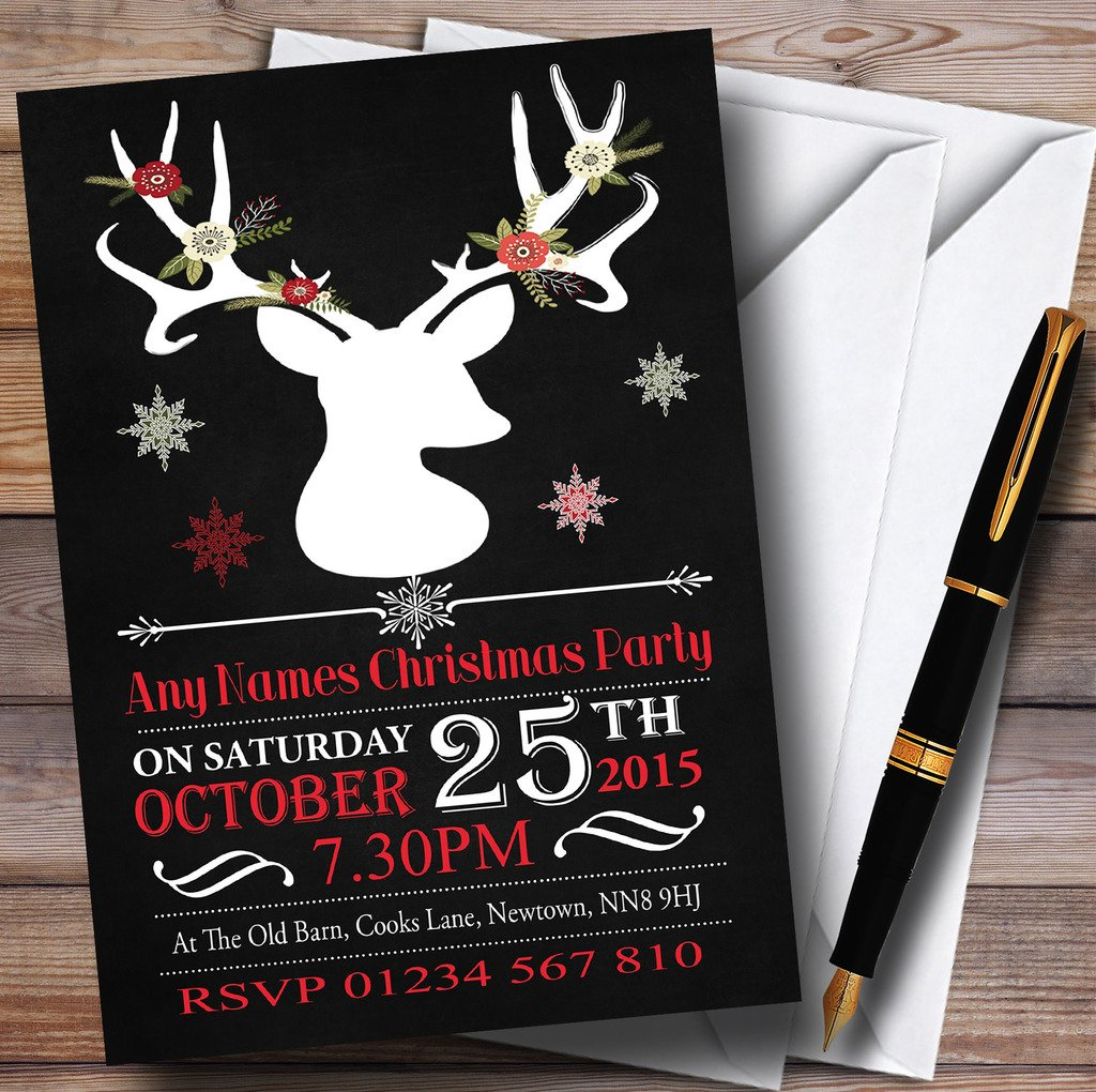 Obtén lo ultimo 90 Invitations Tiza Tiza Tiza Efecto blancoo ciervos personalizado invitaciones para fiesta de Navidad  saludable
