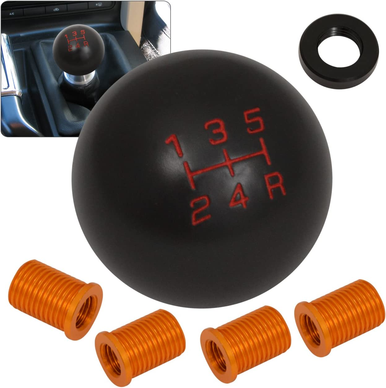 ACAMPTAR Universal Car Auto Black 8 Ball Gear Shift Shifter Knob W 8mm 10mm 12mm Adapter