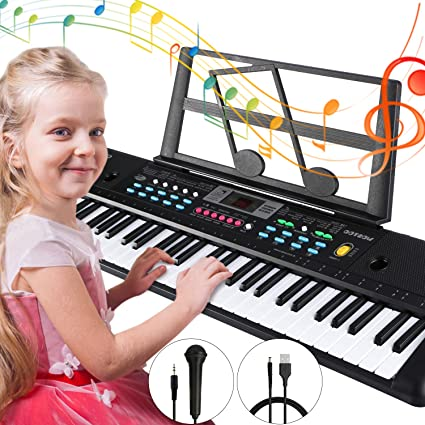 Hamzer 61-Key Music Piano Keyboard Electronic Instrument with Stand Microphone