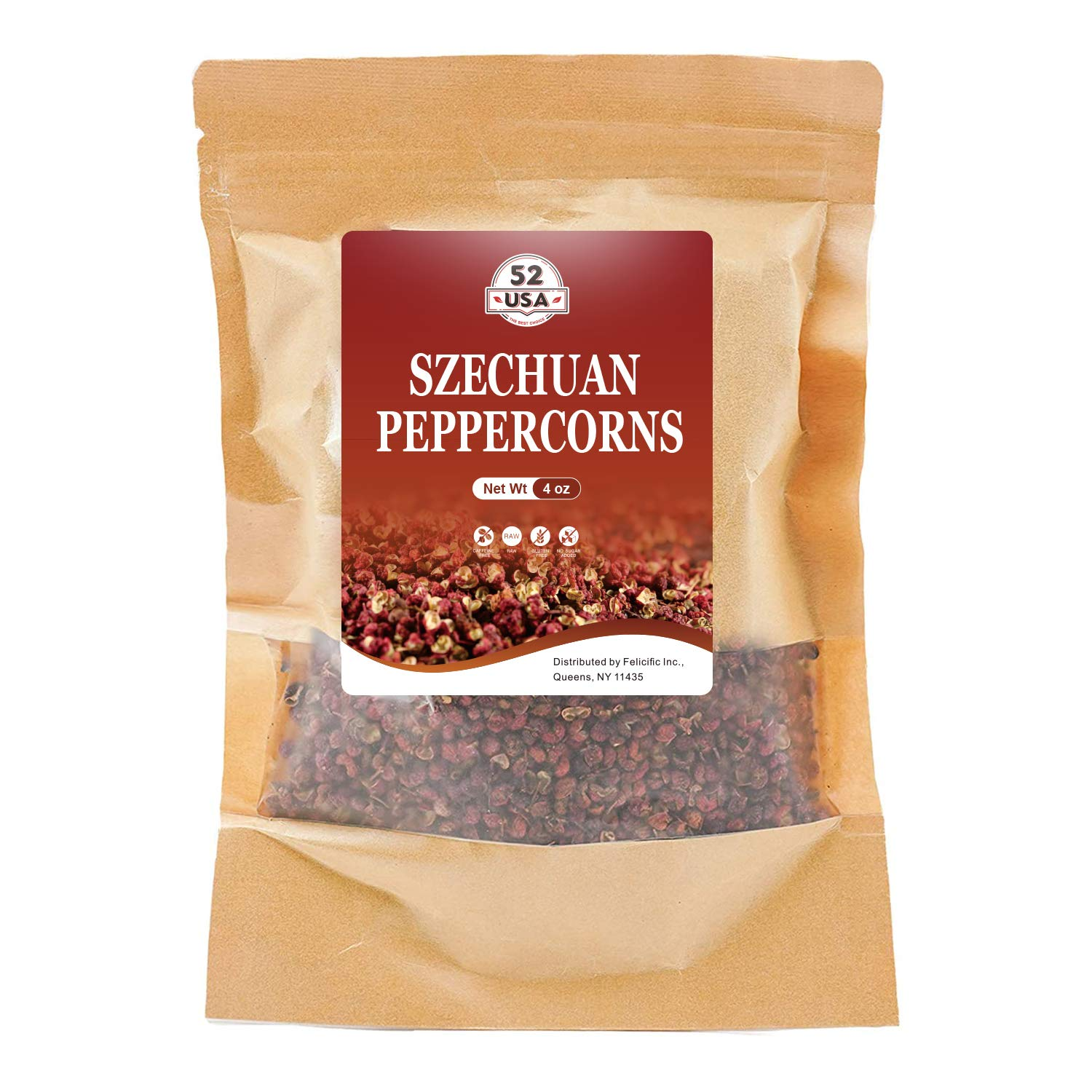 52USA Szechuan Peppercorns(4OZ), Sichuan Red Peppercorns, Whole Szechuan Peppercorns, Sichuan peppercorns, Key Ingredients for Mapo Tofu and Scihuan Dishes